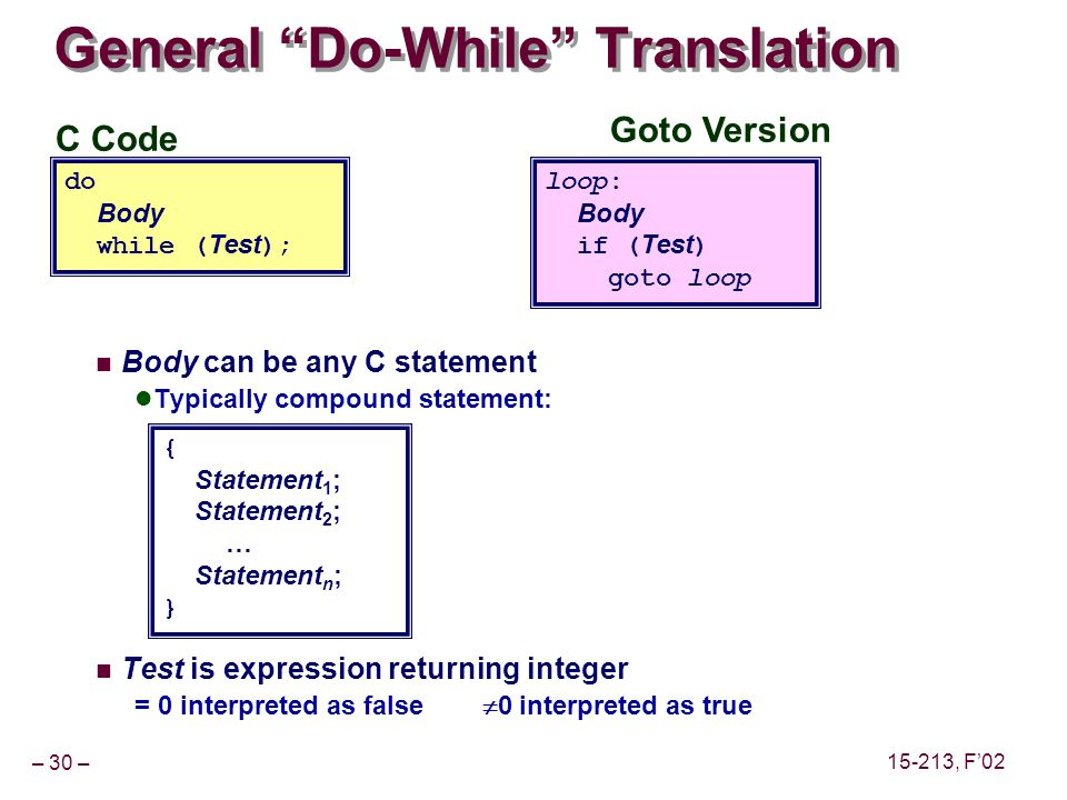 – 30 – 15-213, F02 C Code do Body while ( Test ); Goto Version loop: Body if ( Test ) goto loop General Do-While Translation Body can be any C statement Typically compound statement: Test is expression returning integer = 0 interpreted as false 0 interpreted as true { Statement 1 ; Statement 2 ; … Statement n ; }