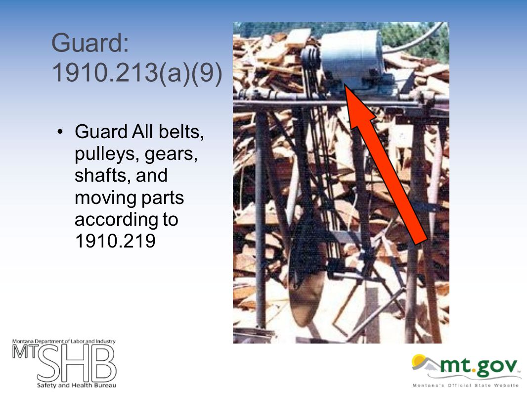 Guard: 1910.213(a)(9) Guard All belts, pulleys, gears, shafts, and moving parts according to 1910.219