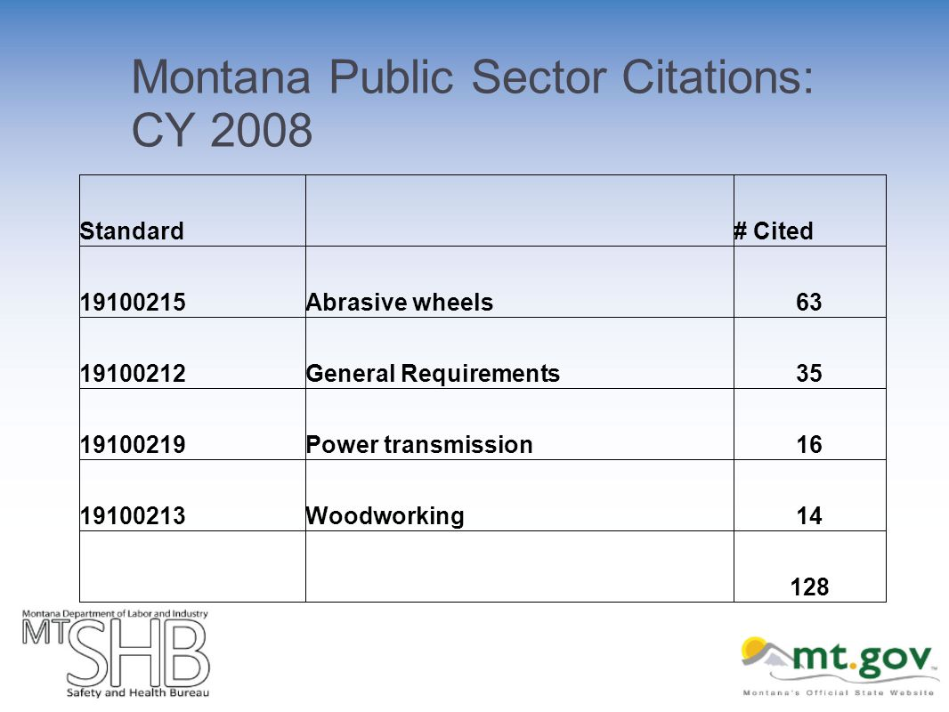 Montana Public Sector Citations: CY 2008