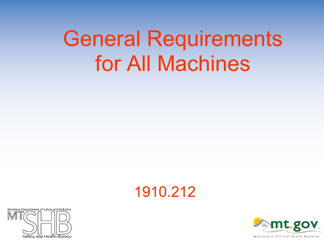 General Requirements for All Machines 1910.212