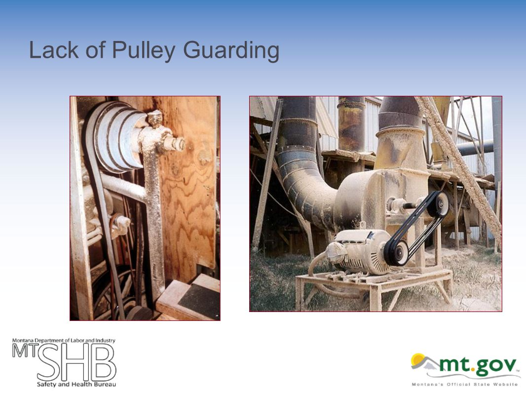 Lack of Pulley Guarding