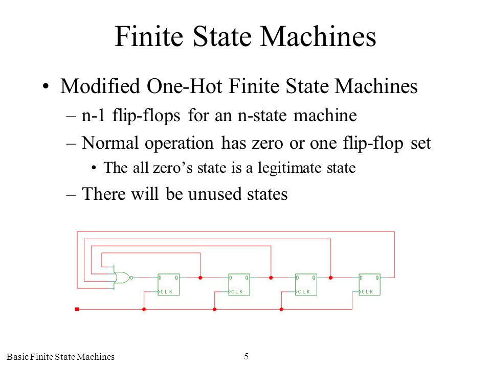 Basic Finite State Machines 5 Finite State Machines Modified One-Hot Finite State Machines –n-1 flip-flops for an n-state machine –Normal operation has zero or one flip-flop set The all zeros state is a legitimate state –There will be unused states