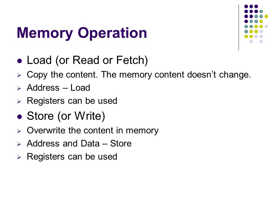 Memory Operation Load (or Read or Fetch) Copy the content.