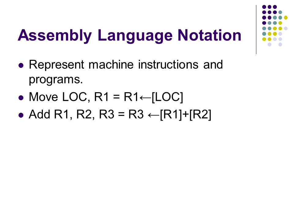 Assembly Language Notation Represent machine instructions and programs.