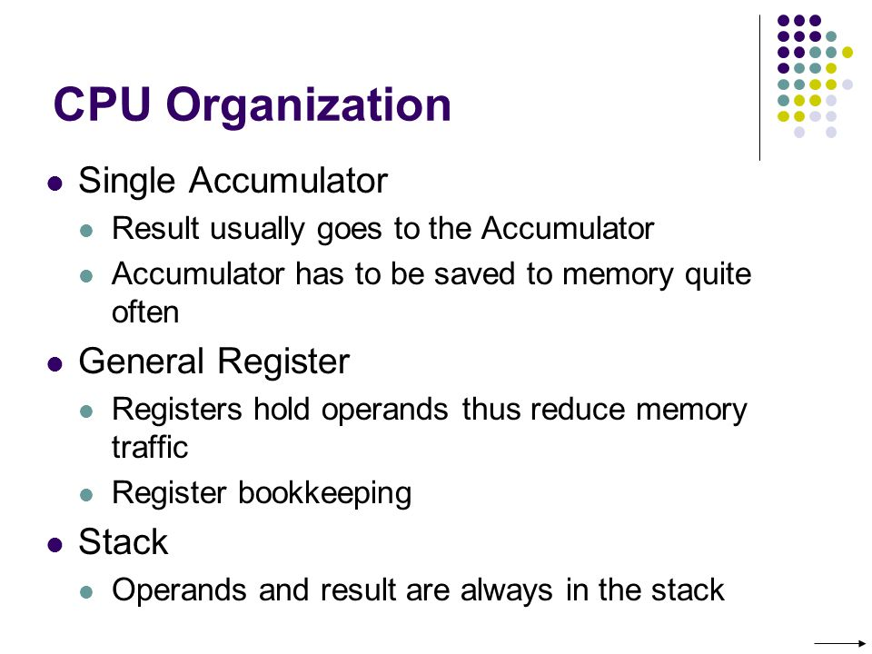 CPU Organization Single Accumulator Result usually goes to the Accumulator Accumulator has to be saved to memory quite often General Register Registers hold operands thus reduce memory traffic Register bookkeeping Stack Operands and result are always in the stack