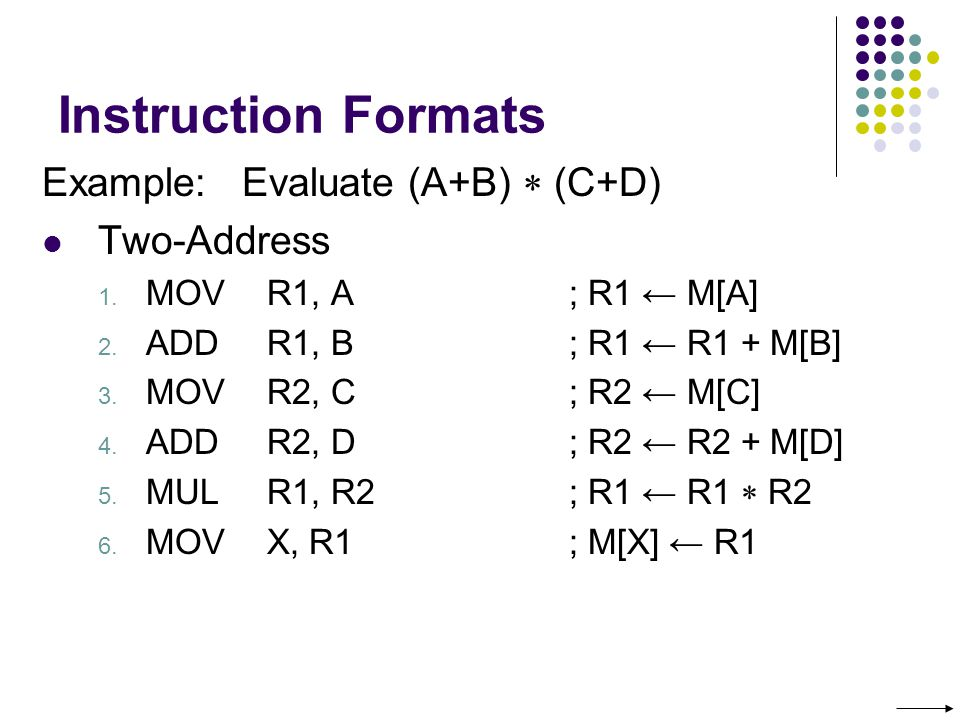 Instruction Formats Example: Evaluate (A+B) (C+D) Two-Address 1.