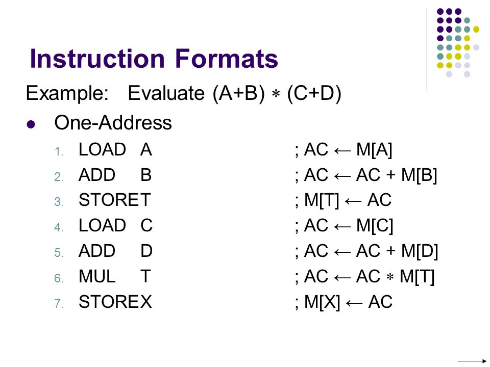 Instruction Formats Example: Evaluate (A+B) (C+D) One-Address 1.