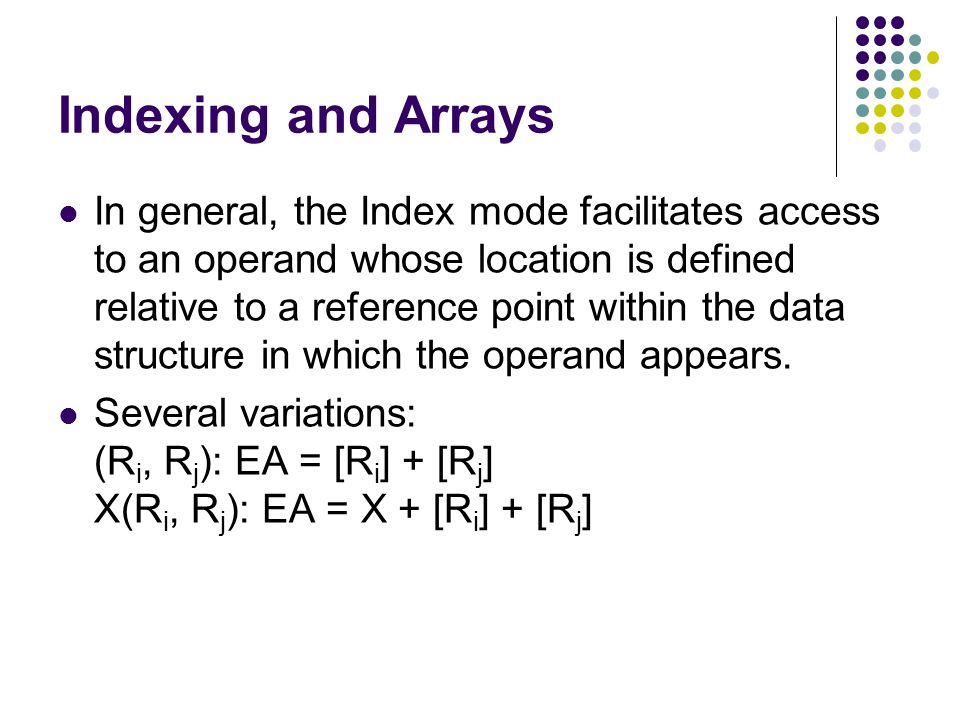 Indexing and Arrays In general, the Index mode facilitates access to an operand whose location is defined relative to a reference point within the data structure in which the operand appears.