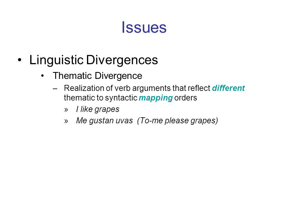 Issues Linguistic Divergences Thematic Divergence –Realization of verb arguments that reflect different thematic to syntactic mapping orders »I like grapes »Me gustan uvas (To-me please grapes)