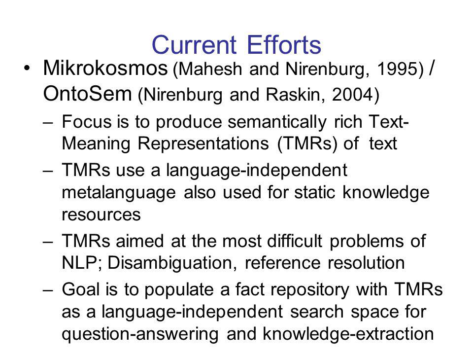 Current Efforts Mikrokosmos (Mahesh and Nirenburg, 1995) / OntoSem (Nirenburg and Raskin, 2004) –Focus is to produce semantically rich Text- Meaning Representations (TMRs) of text –TMRs use a language-independent metalanguage also used for static knowledge resources –TMRs aimed at the most difficult problems of NLP; Disambiguation, reference resolution –Goal is to populate a fact repository with TMRs as a language-independent search space for question-answering and knowledge-extraction