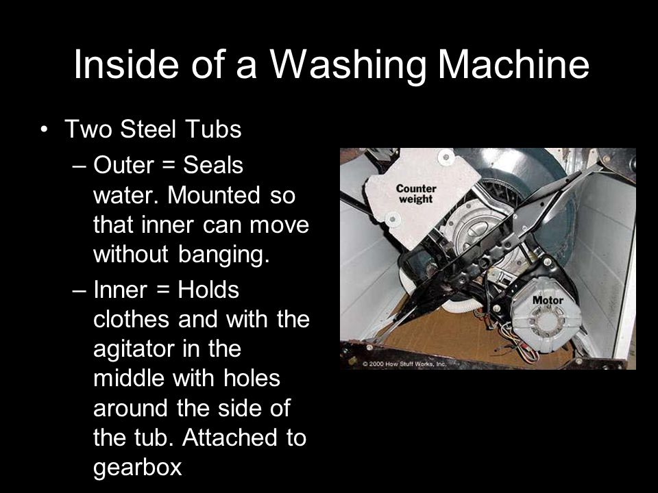Inside a Washing Machine There are 3 pulley –One side of frame moves up –Other side frame goes down Has Damping System –Uses friction to absorb force of the dangling pulleys