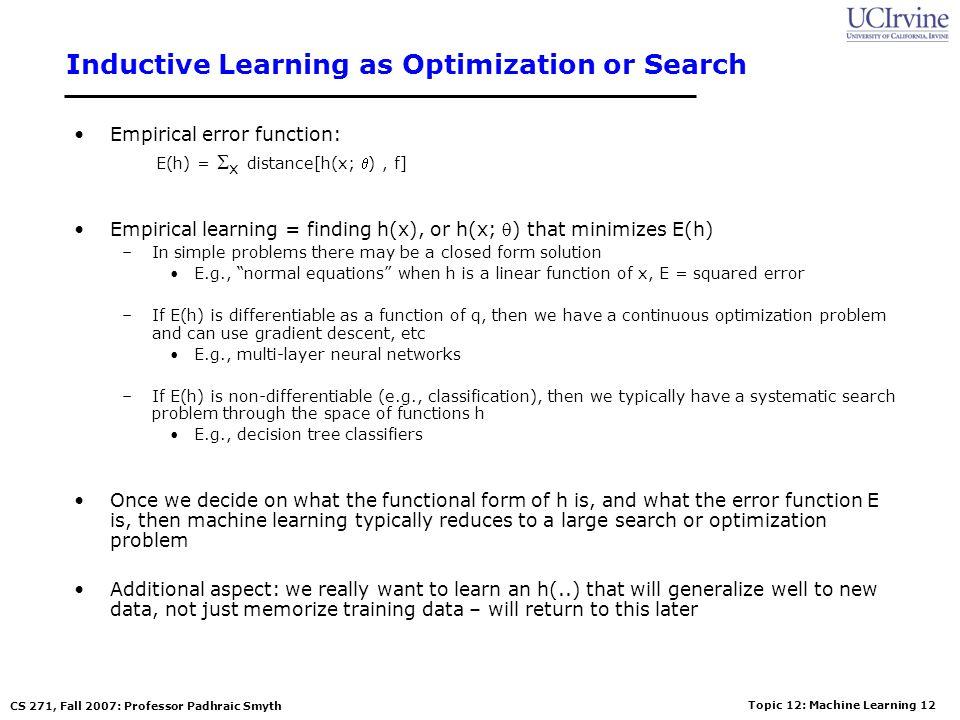 Topic 12: Machine Learning 11 CS 271, Fall 2007: Professor Padhraic Smyth Empirical Error Functions Empirical error function: E(h) = x distance[h(x; )