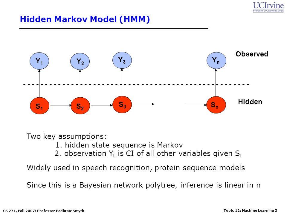 Topic 12: Machine Learning 2 CS 271, Fall 2007: Professor Padhraic Smyth Naïve Bayes Model (p718 in text) Y1Y1 Y2Y2 Y3Y3 C YnYn P(C | Y 1,…Y n ) = P(Y