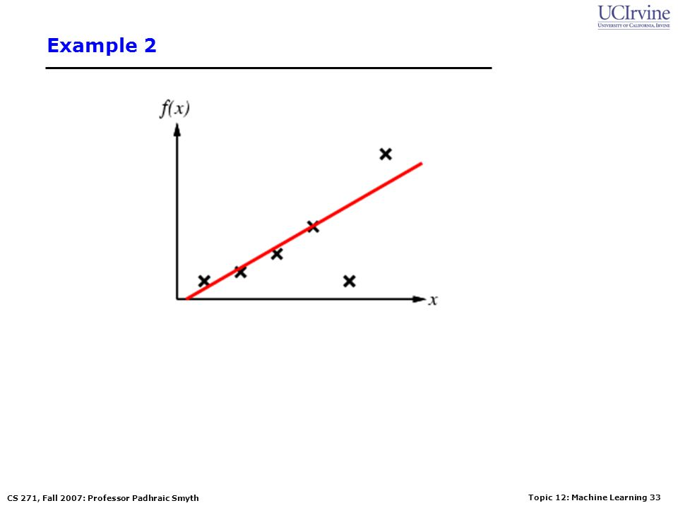 Topic 12: Machine Learning 32 CS 271, Fall 2007: Professor Padhraic Smyth Example 2