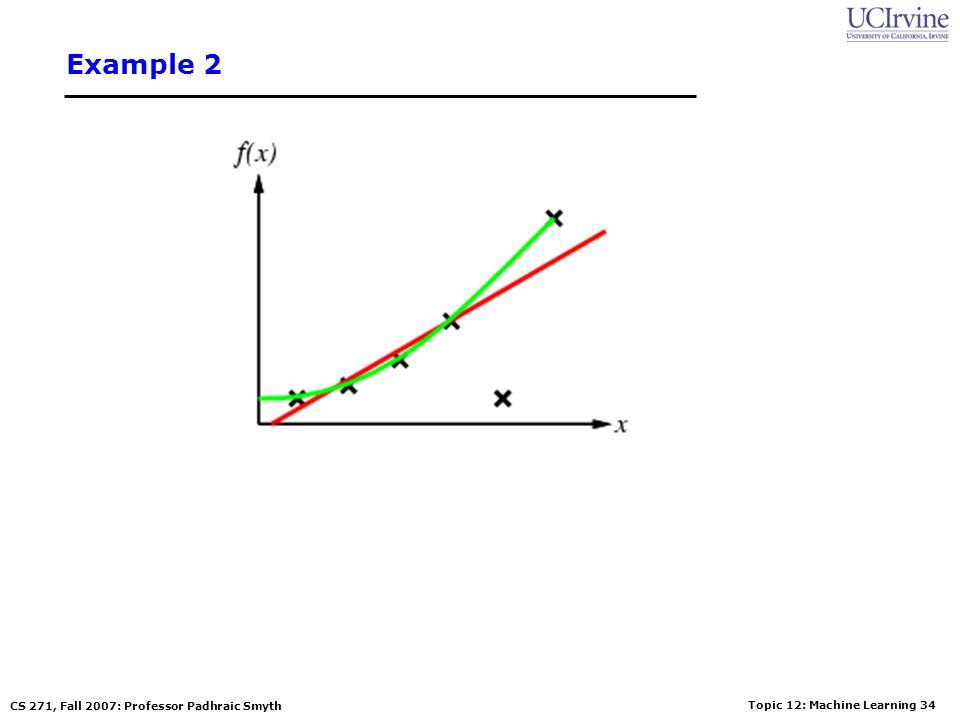 Topic 12: Machine Learning 33 CS 271, Fall 2007: Professor Padhraic Smyth Example 2