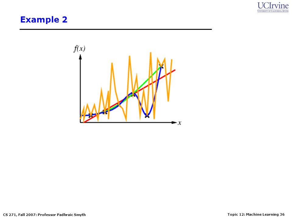 Topic 12: Machine Learning 35 CS 271, Fall 2007: Professor Padhraic Smyth Example 2