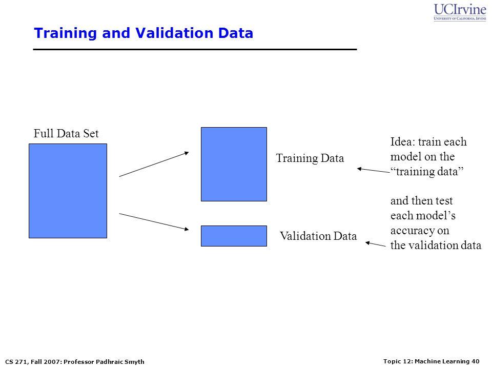 Topic 12: Machine Learning 39 CS 271, Fall 2007: Professor Padhraic Smyth How Overfitting affects Prediction Predictive Error Model Complexity Error o