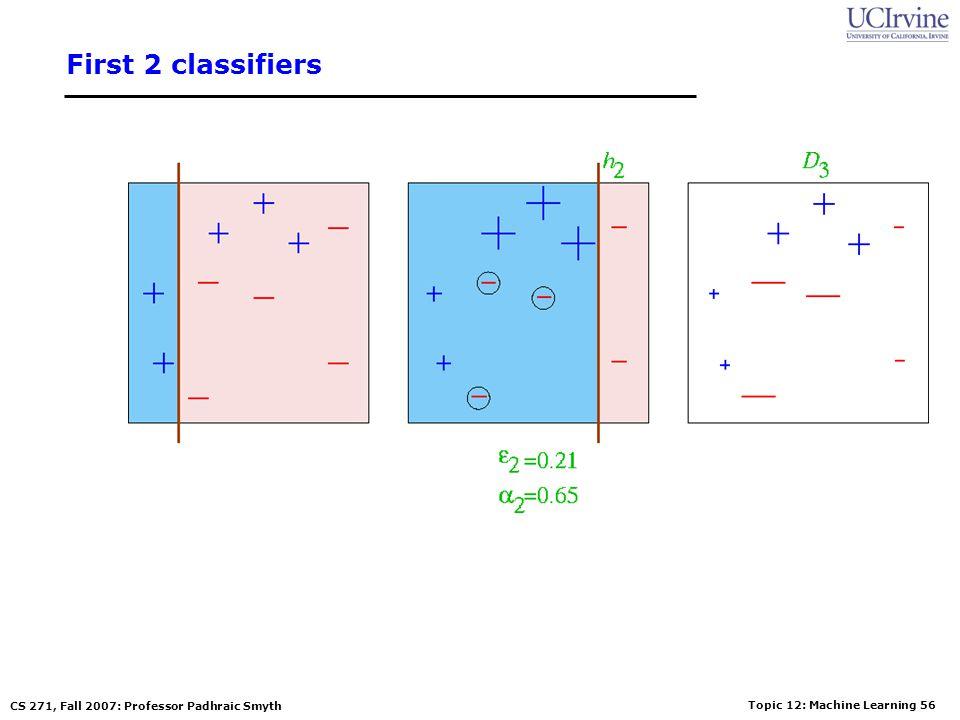 Topic 12: Machine Learning 55 CS 271, Fall 2007: Professor Padhraic Smyth First classifier