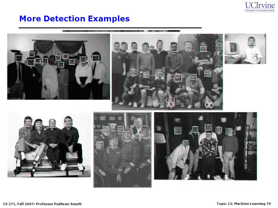Topic 12: Machine Learning 69 CS 271, Fall 2007: Professor Padhraic Smyth Sample results using the Viola-Jones Detector Notice detection at multiple s