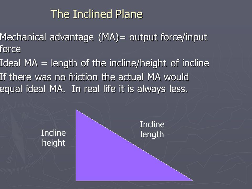 The Inclined Plane Mechanical advantage (MA)= output force/input force Mechanical advantage (MA)= output force/input force Ideal MA = length of the incline/height of incline Ideal MA = length of the incline/height of incline If there was no friction the actual MA would equal ideal MA.