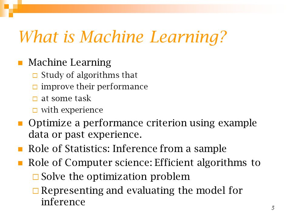 16 Reinforcement Learning Topics: Policies: what actions should an agent take in a particular situation Utility estimation: how good is a state ( used by policy) No supervised output but delayed reward Credit assignment problem (what was responsible for the outcome) Applications: Game playing Robot in a maze Multiple agents, partial observability,...