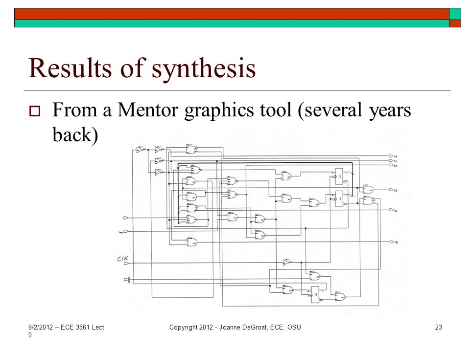 Results of synthesis From a Mentor graphics tool (several years back) 9/2/2012 – ECE 3561 Lect 9 Copyright 2012 - Joanne DeGroat, ECE, OSU23