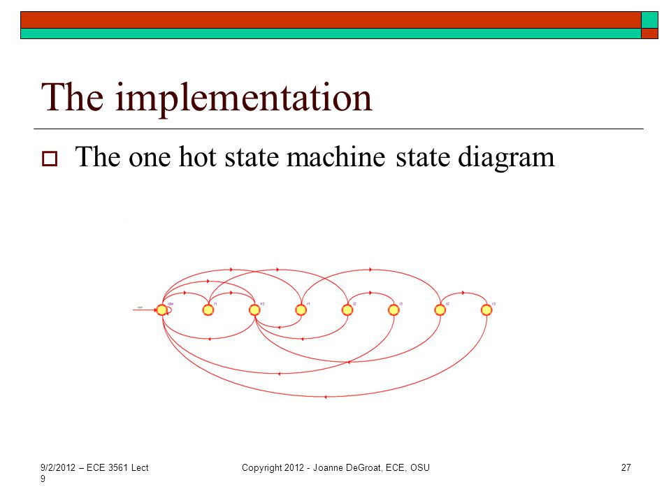 The implementation The one hot state machine state diagram 9/2/2012 – ECE 3561 Lect 9 Copyright 2012 - Joanne DeGroat, ECE, OSU27