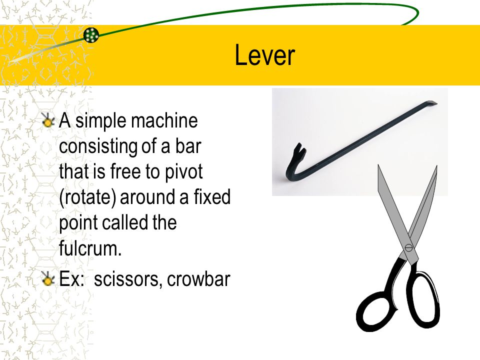 Lever A simple machine consisting of a bar that is free to pivot (rotate) around a fixed point called the fulcrum.
