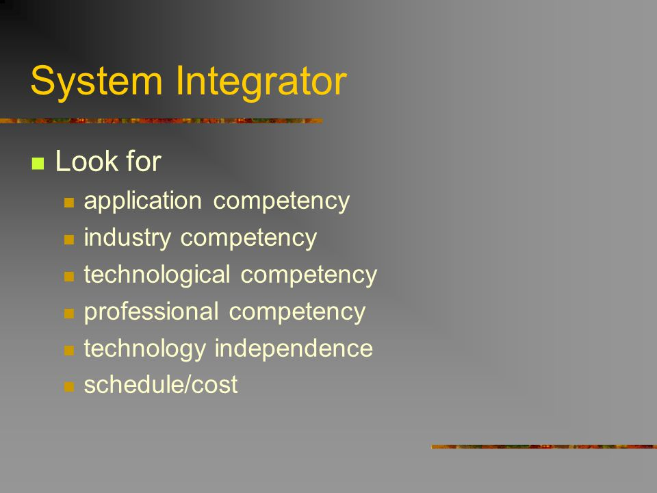 System Integrator Look for application competency industry competency technological competency professional competency technology independence schedul