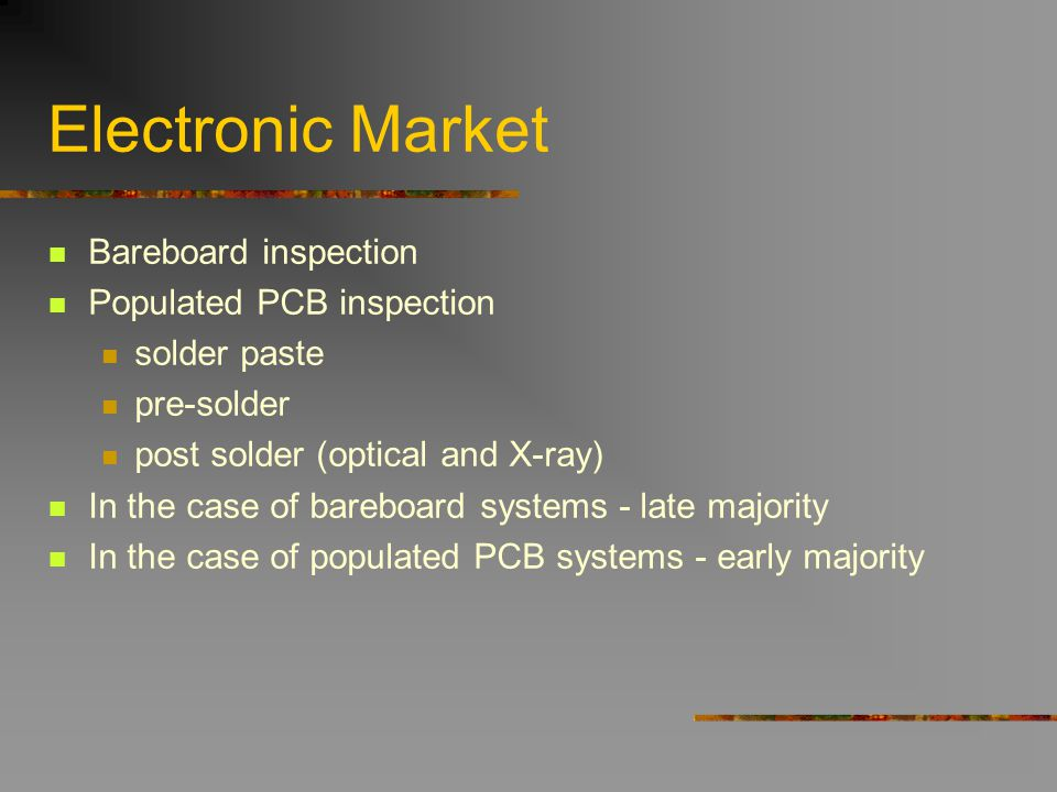 Electronic Market Bareboard inspection Populated PCB inspection solder paste pre-solder post solder (optical and X-ray) In the case of bareboard syste