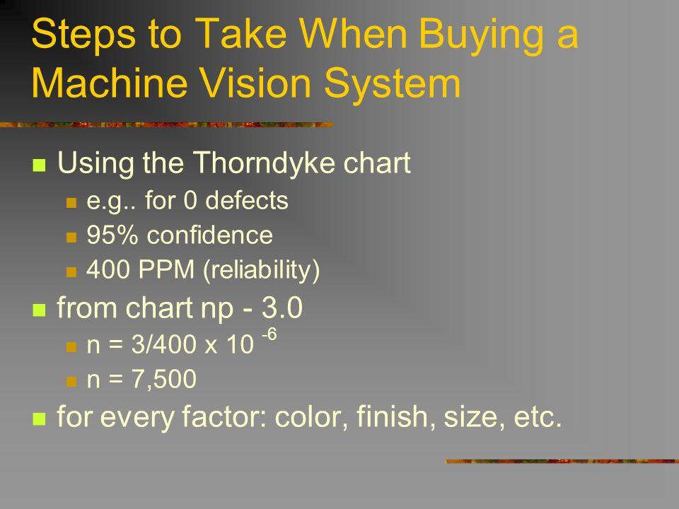 Steps to Take When Buying a Machine Vision System Using the Thorndyke chart e.g.. for 0 defects 95% confidence 400 PPM (reliability) from chart np - 3