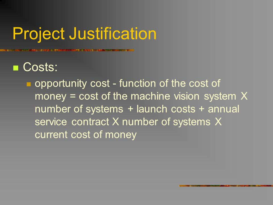 Project Justification Costs: opportunity cost - function of the cost of money = cost of the machine vision system X number of systems + launch costs +