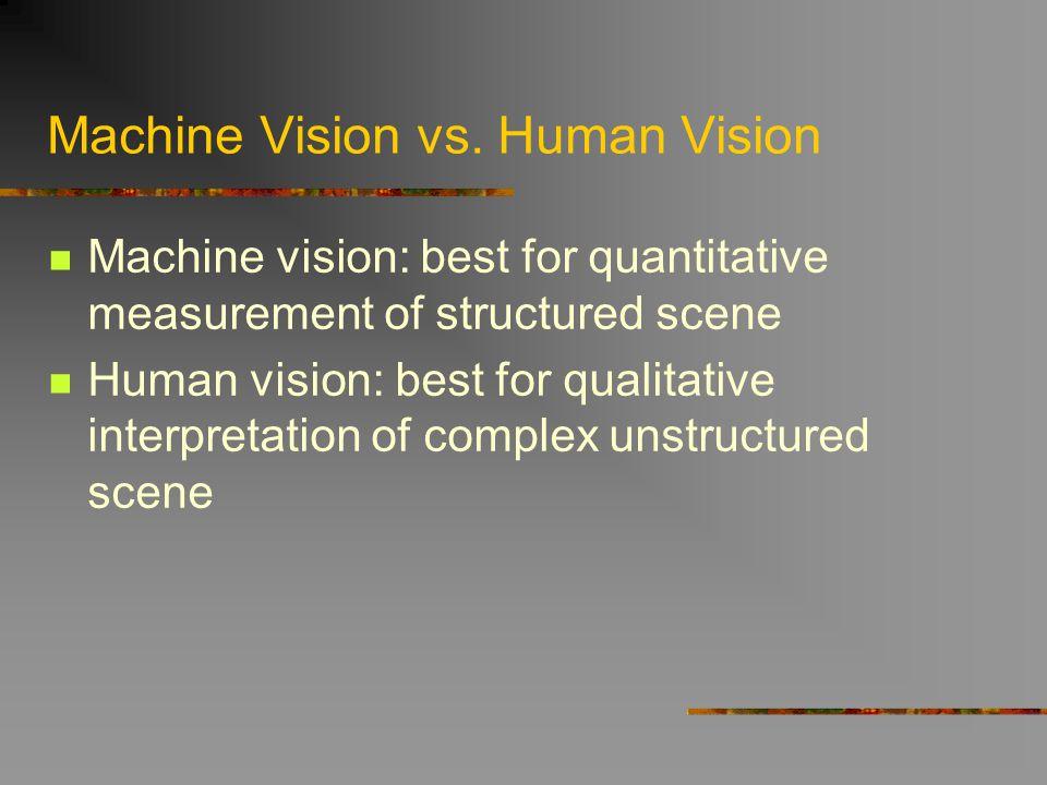 Machine Vision vs. Human Vision Machine vision: best for quantitative measurement of structured scene Human vision: best for qualitative interpretatio