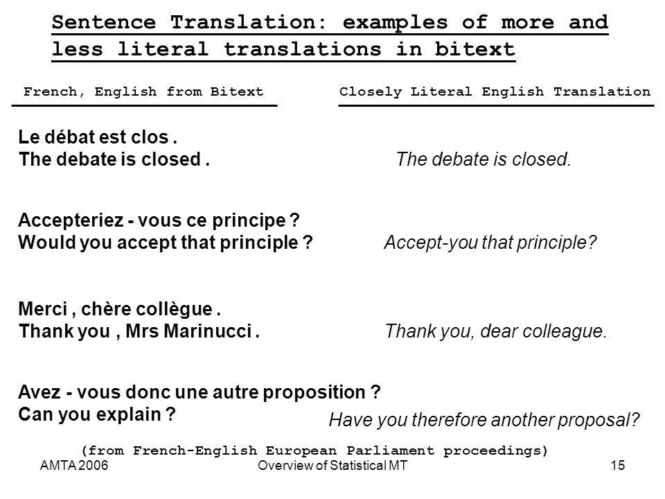 AMTA 2006Overview of Statistical MT15 Sentence Translation: examples of more and less literal translations in bitext Le débat est clos.