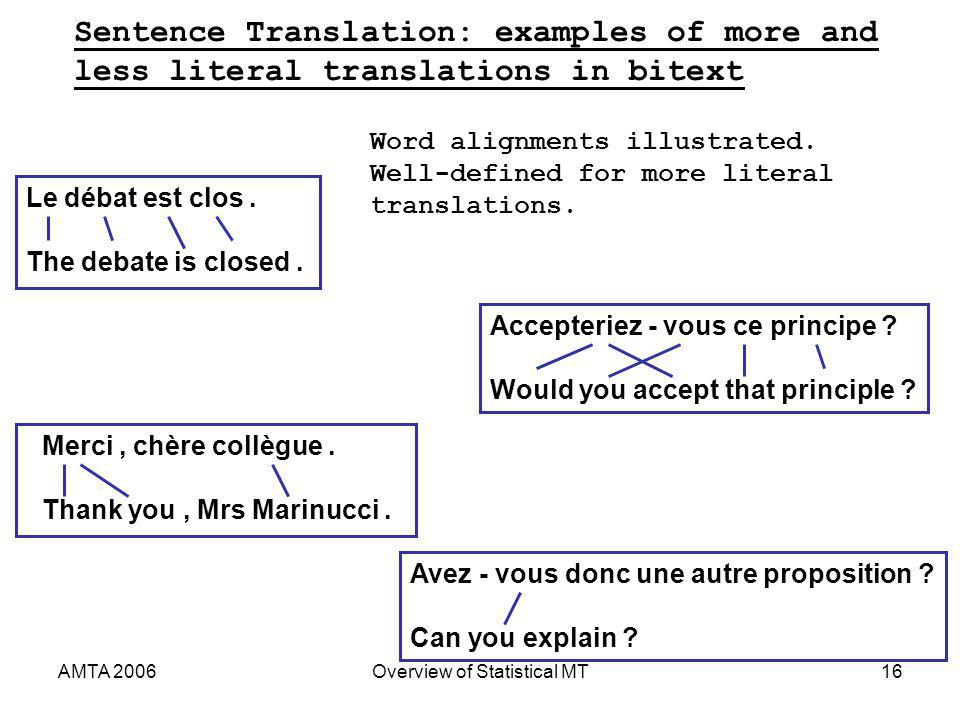 AMTA 2006Overview of Statistical MT16 Sentence Translation: examples of more and less literal translations in bitext Le débat est clos.