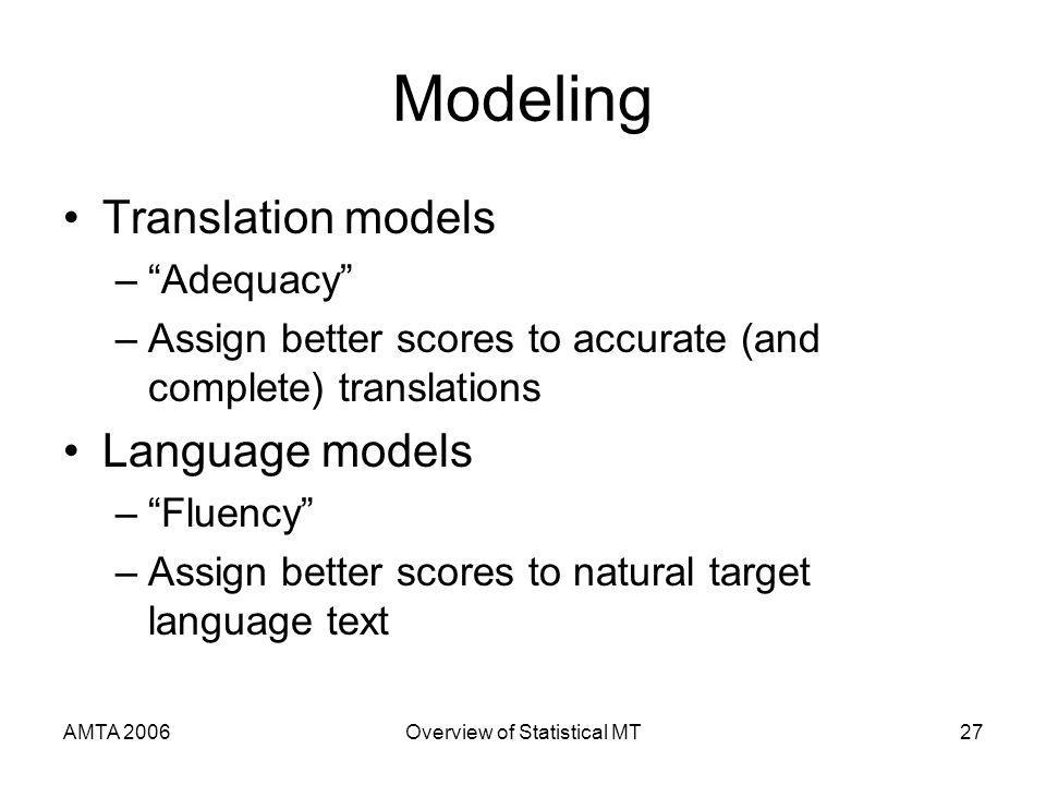 AMTA 2006Overview of Statistical MT27 Modeling Translation models –Adequacy –Assign better scores to accurate (and complete) translations Language models –Fluency –Assign better scores to natural target language text
