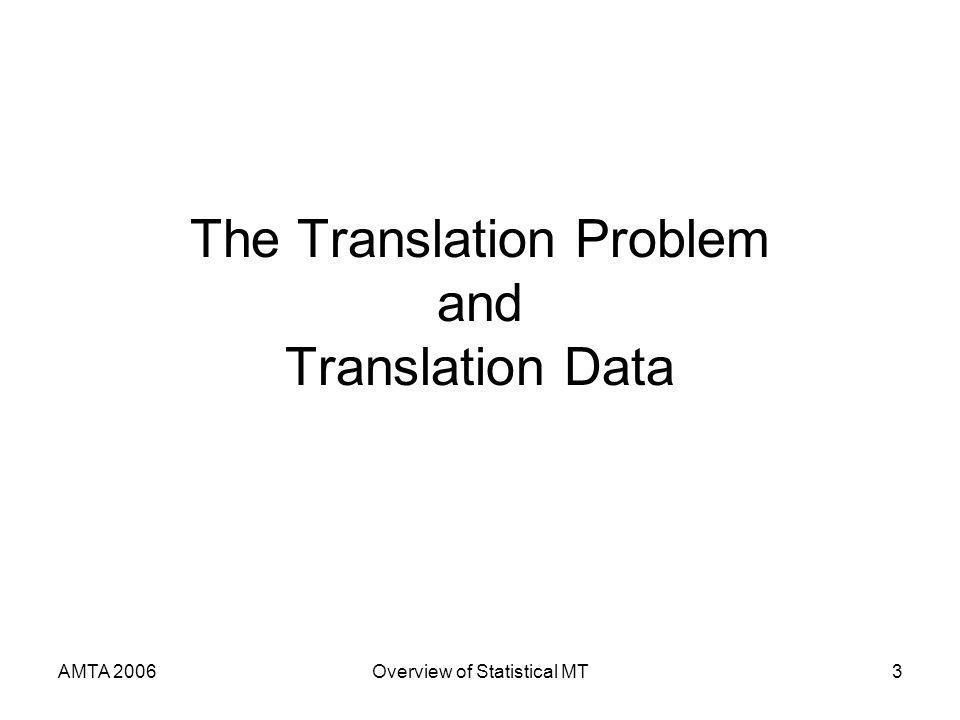 AMTA 2006Overview of Statistical MT3 The Translation Problem and Translation Data