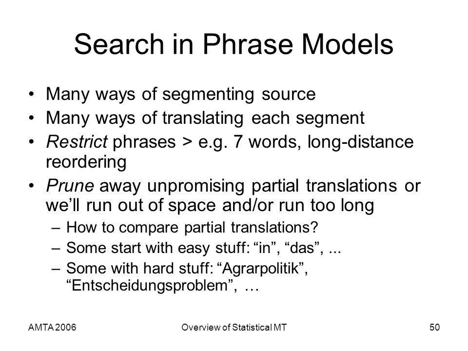 AMTA 2006Overview of Statistical MT50 Search in Phrase Models Many ways of segmenting source Many ways of translating each segment Restrict phrases > e.g.