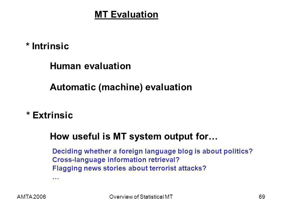 AMTA 2006Overview of Statistical MT69 MT Evaluation * Intrinsic * Extrinsic Human evaluation Automatic (machine) evaluation How useful is MT system ou