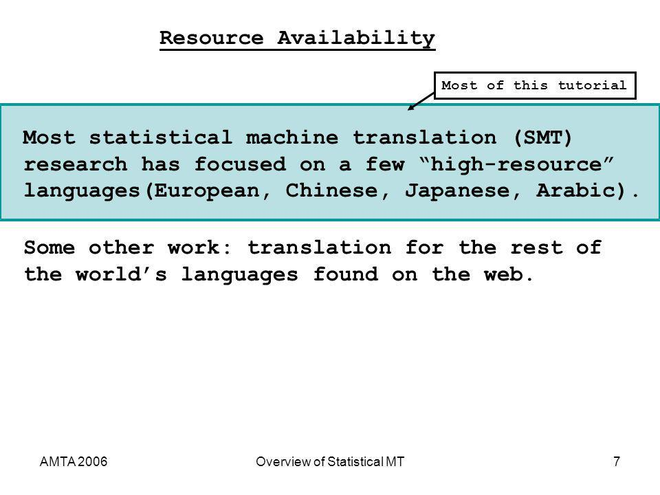 AMTA 2006Overview of Statistical MT7 Most statistical machine translation (SMT) research has focused on a few high-resource languages(European, Chines
