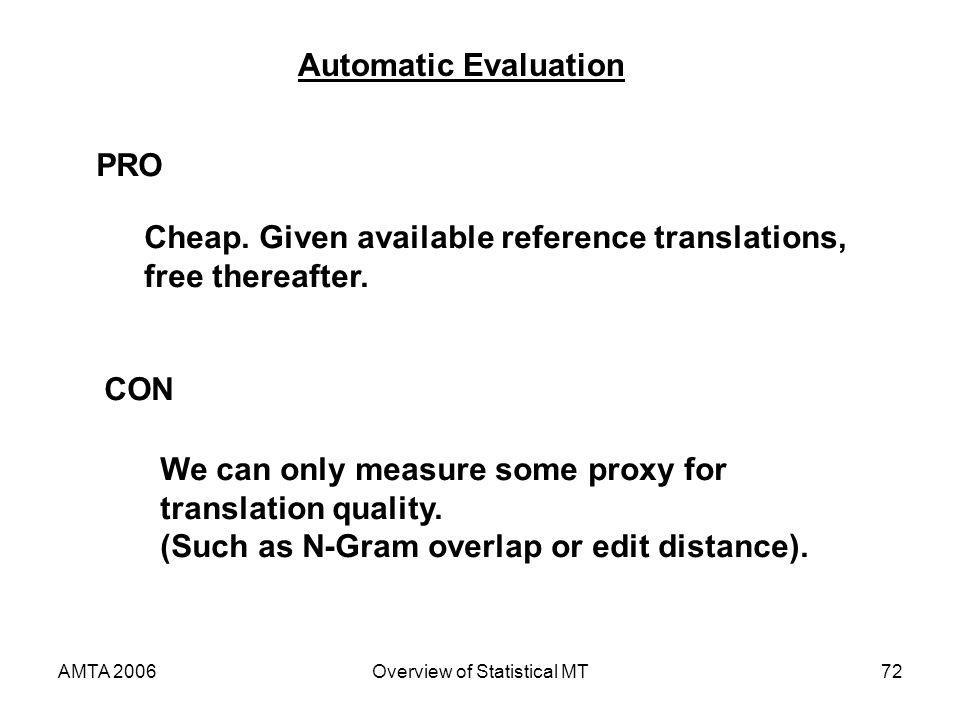 AMTA 2006Overview of Statistical MT72 Automatic Evaluation PRO Cheap. Given available reference translations, free thereafter. CON We can only measure