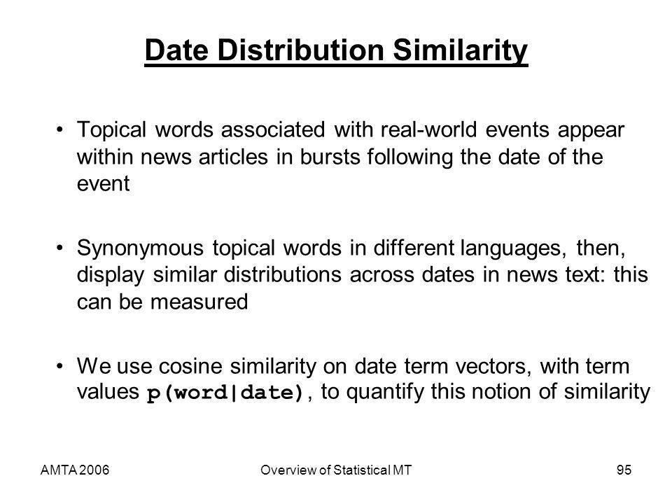 AMTA 2006Overview of Statistical MT95 Date Distribution Similarity Topical words associated with real-world events appear within news articles in burs