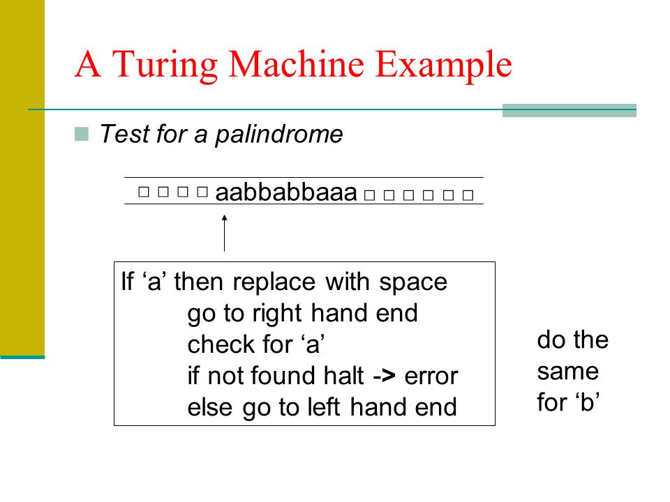 A Turing Machine Example Test for a palindrome aabbabbaaa If a then replace with space go to right hand end check for a if not found halt -> error else go to left hand end do the same for b