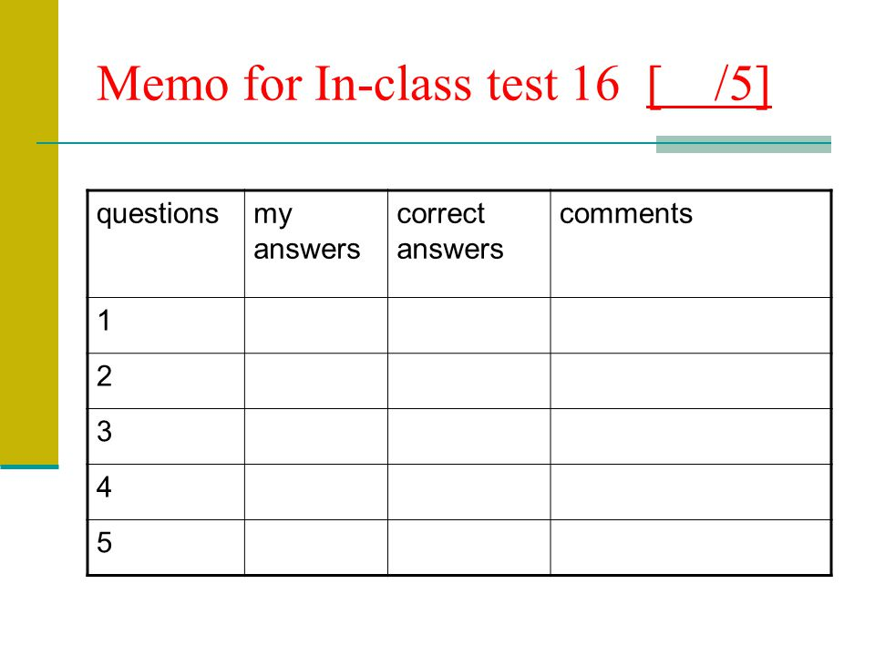 Memo for In-class test 16 [ /5] questionsmy answers correct answers comments 1 2 3 4 5
