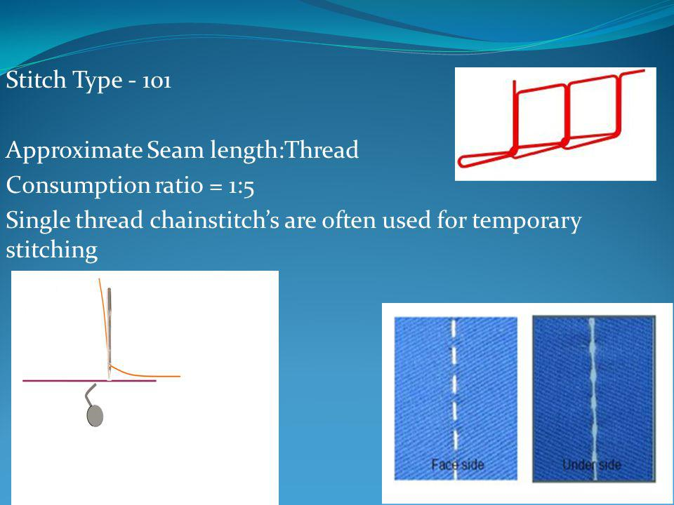 Stitch Type - 101 Approximate Seam length:Thread Consumption ratio = 1:5 Single thread chainstitchs are often used for temporary stitching