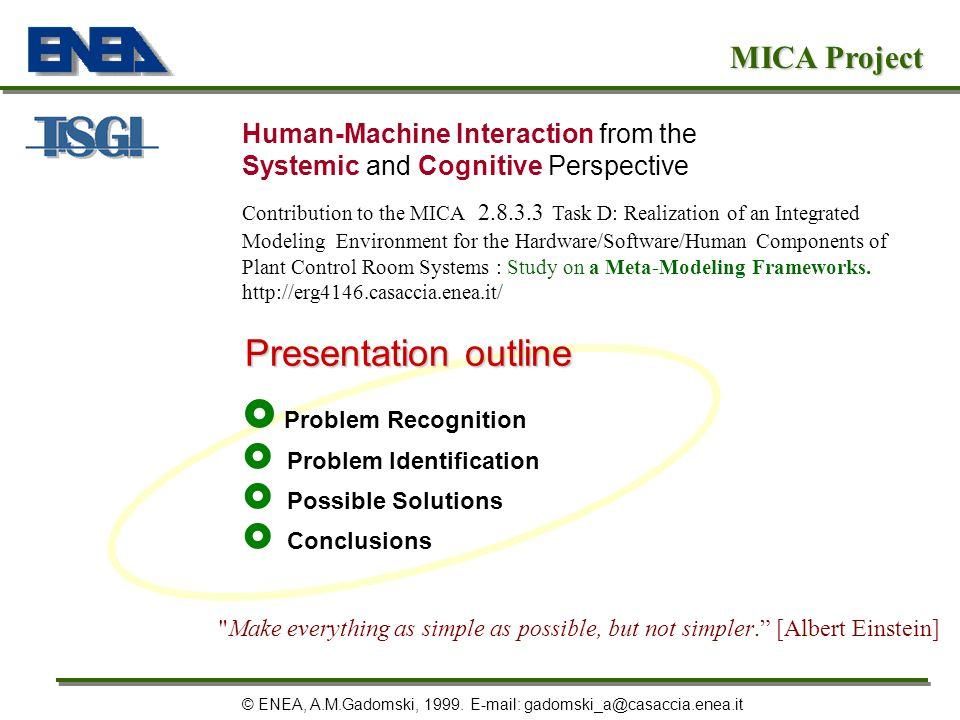 Preface Problem Recognition Problem Identification Possible Solutions Conclusions MICA Project © ENEA, A.M.Gadomski, 1999.