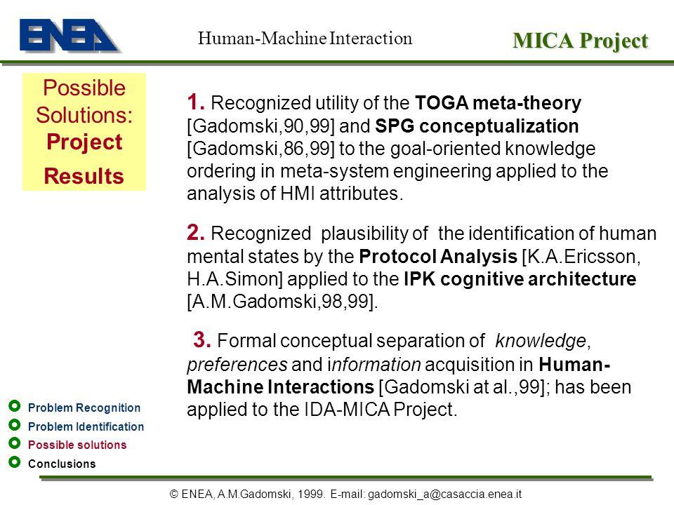 MICA Project © ENEA, A.M.Gadomski, 1999. E-mail: gadomski_a@casaccia.enea.it Possible Solutions: Project Results Human-Machine Interaction Problem Rec