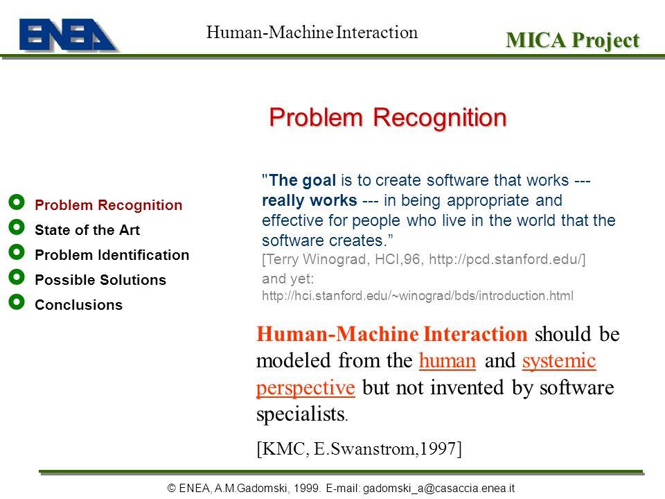 Problem Recognition State of the Art Problem Identification Possible Solutions Conclusions MICA Project © ENEA, A.M.Gadomski, 1999. E-mail: gadomski_a