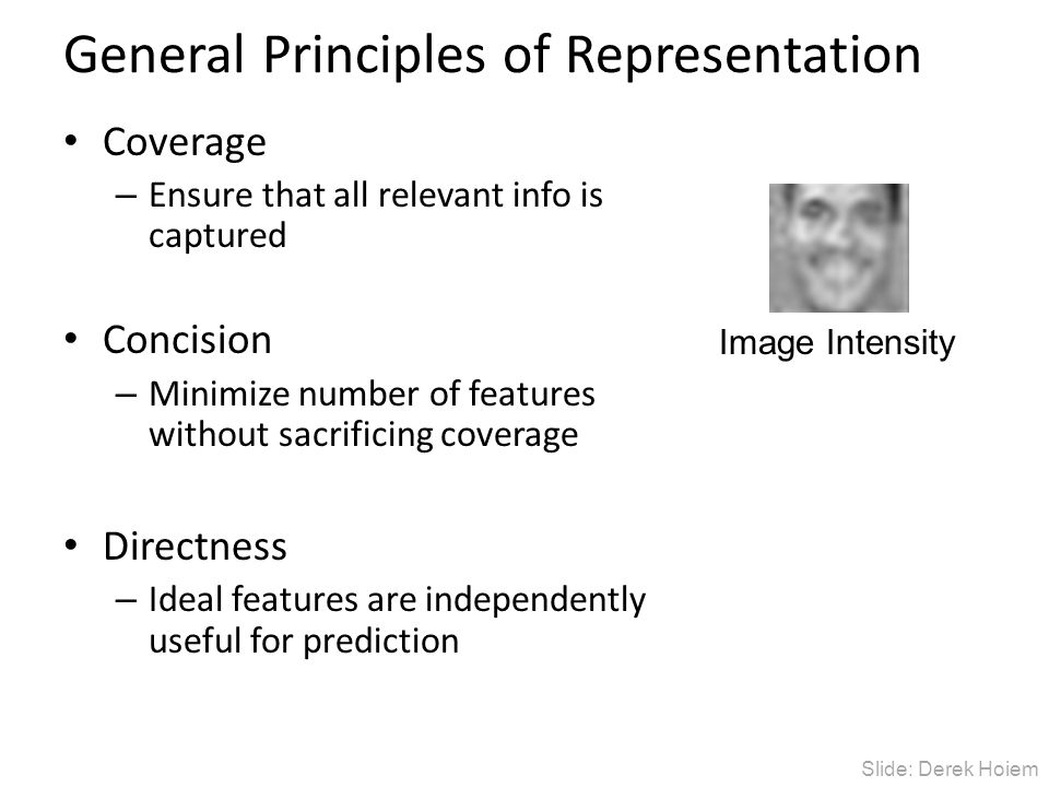 General Principles of Representation Coverage – Ensure that all relevant info is captured Concision – Minimize number of features without sacrificing