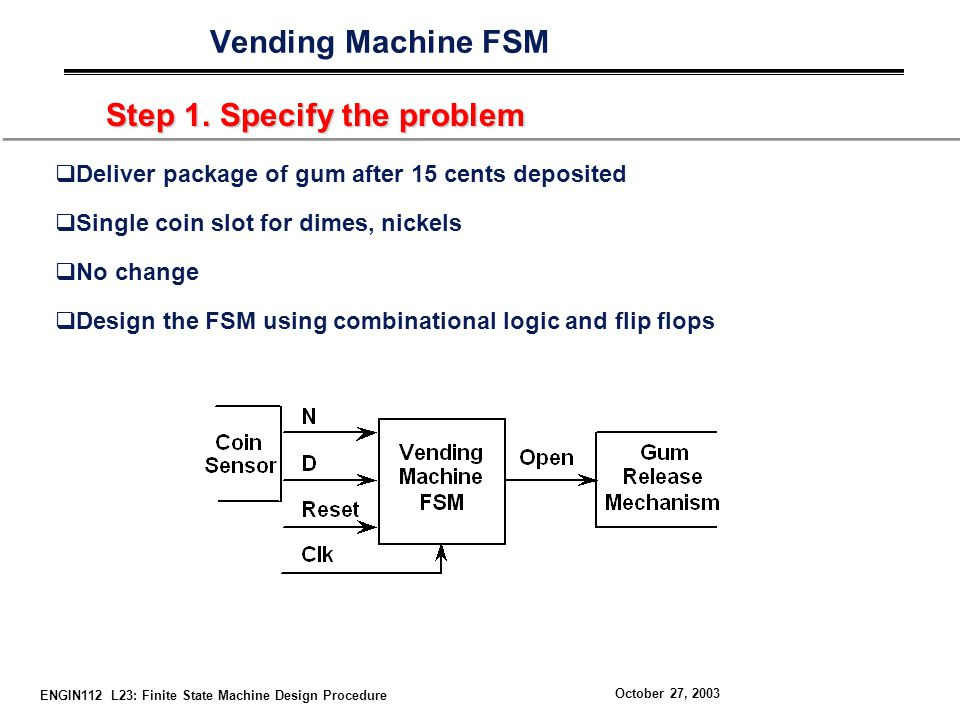 ENGIN112 L23: Finite State Machine Design Procedure October 27, 2003 Vending Machine FSM Step 1.
